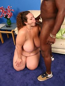 Massive bbw Mona flaunts her huge bazooms before she gets black cock pussy plowing