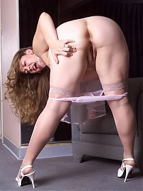 Fat Blonde on See Through Lingerie Bend Over Exposing Pussy