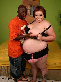 Insanely hot interracial fuck with BBW Candice Cane taking a black dick in her cushioned muff